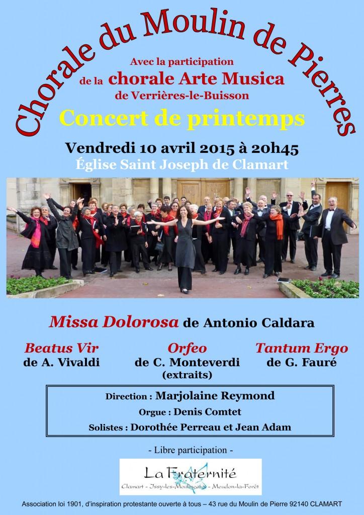 Affiche du concert de la chorale du Moulin de Pierre